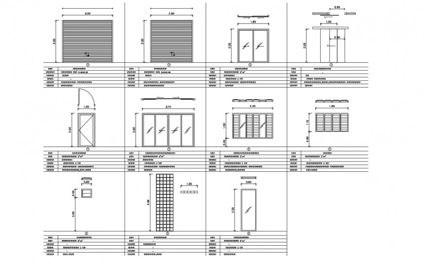 House doors, windows and main gate elevation and installation cad drawing details dwg file