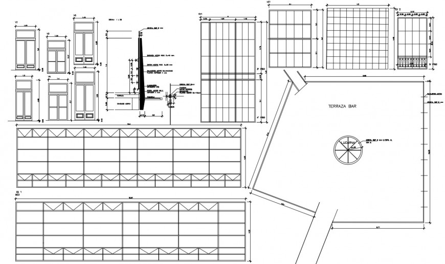 House doors elevations and installation with fences cad drawing details dwg file