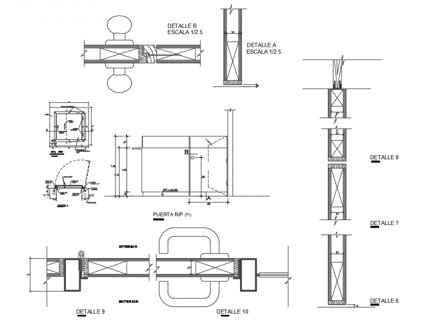 House doors frame and joints structure details dwg file