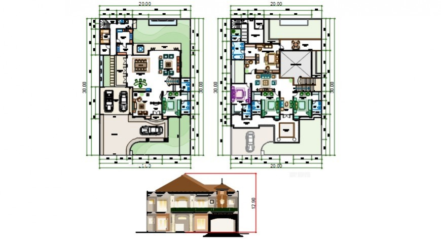 House drawing elevation and floor plan 2d view dwg autocad file