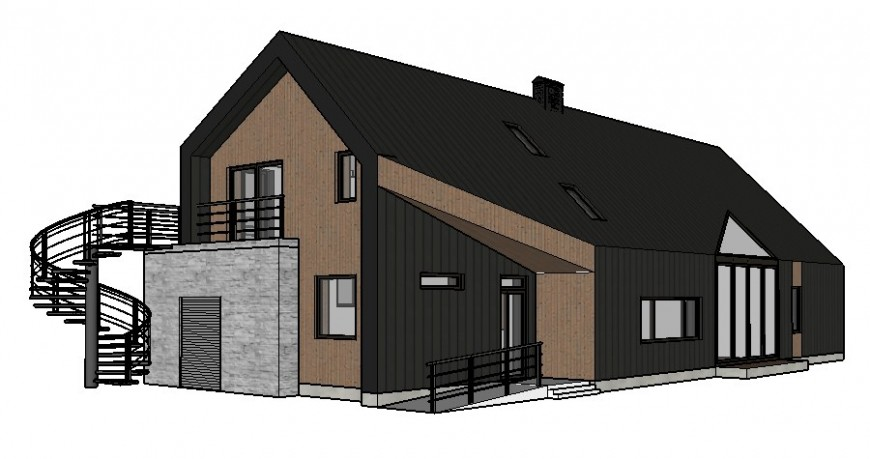 House drawings 3d model details in sketch-up software