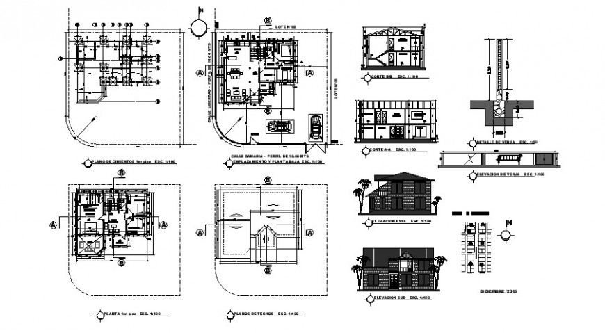 House elevation, section, floor plan, foundation plan and structure details dwg file