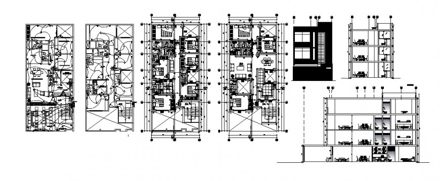 House elevation, section, floor plan and electric installation cad drawing details dwg file