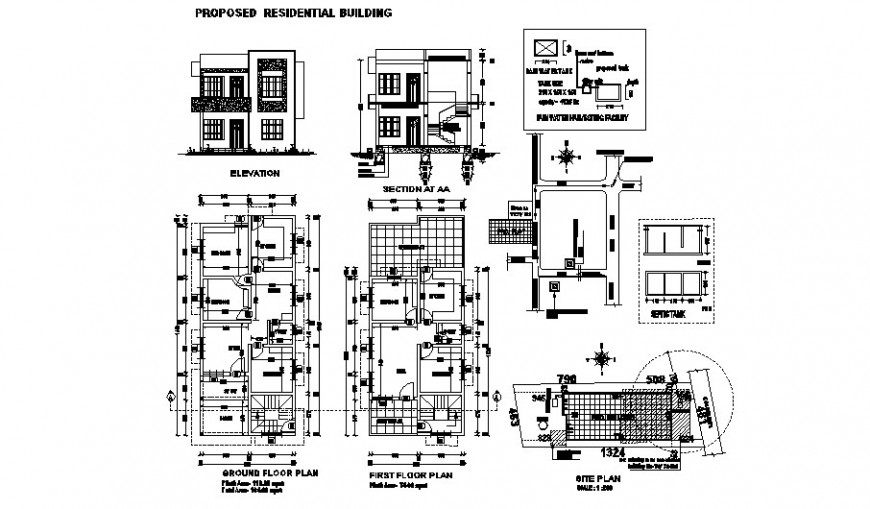 House elevation, section, floor plan and site plan auto-cad details dwg file