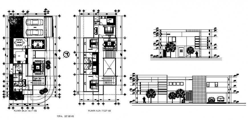 House elevation, section and first and second floor plan cad drawing details dwg file