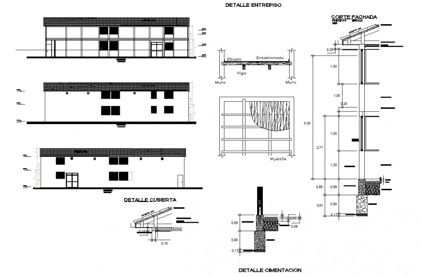 House elevation and foundation section layout file