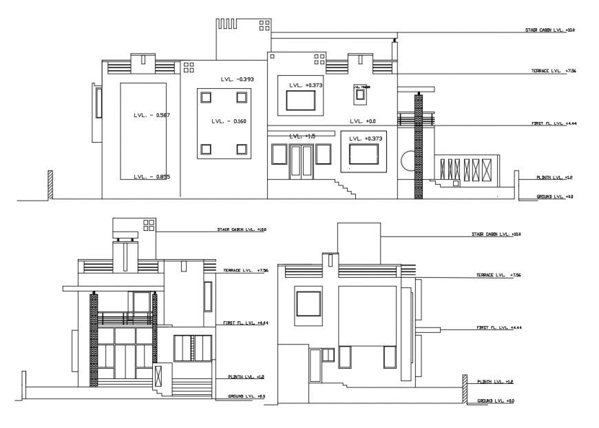 House elevation and section with ground level to stair cabin level dwg file