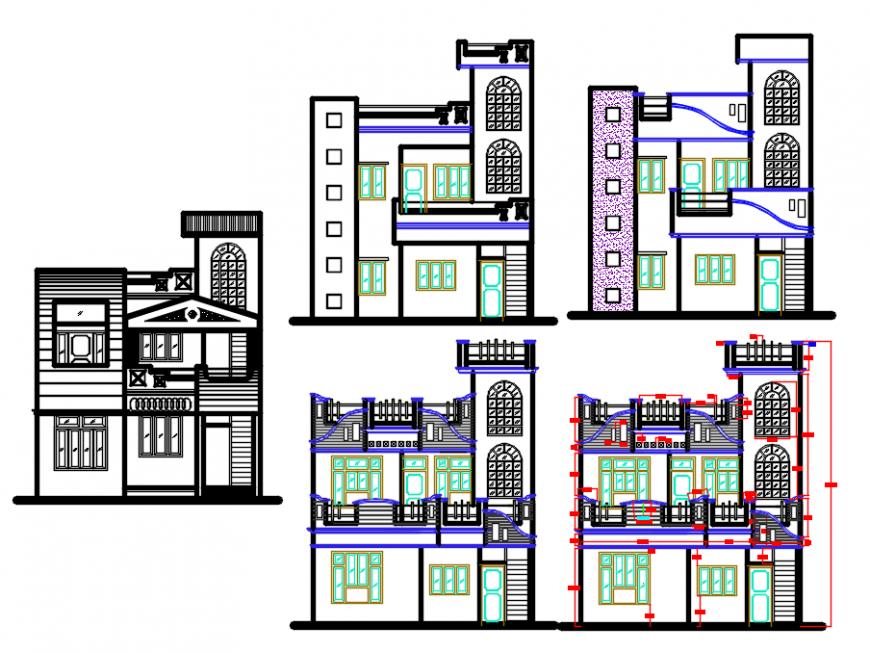 House elevation design autocad file