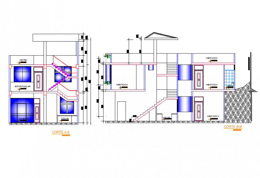 House Elevation Detail in DWG file