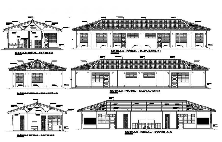 House elevation plan dwg file