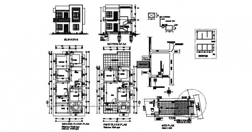 House elevation section and plan details 2d view autocad file
