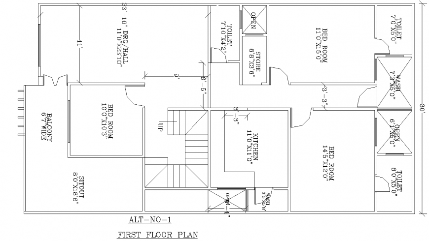 House first floor layout plan in dwg AutoCAD file.