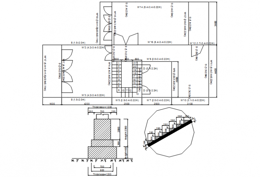 House first floor plan, elevation and foundation detail