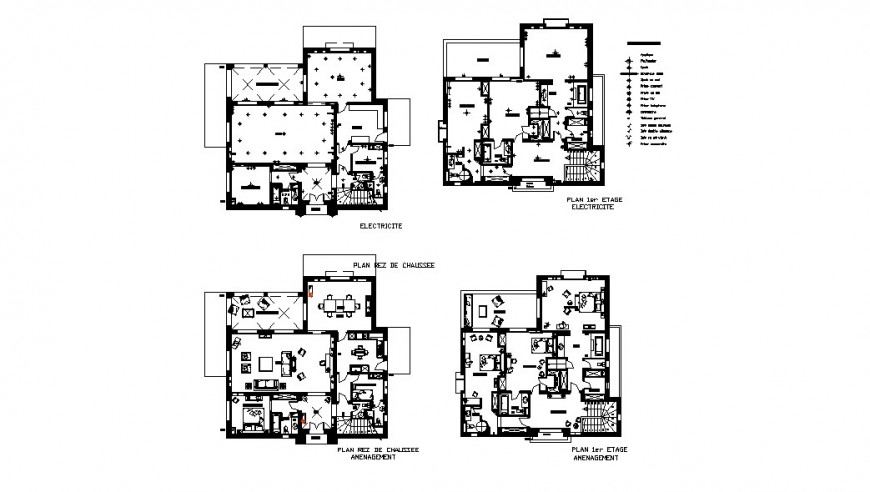House floor layout plan and electrical layout plan cad drawing details dwg file