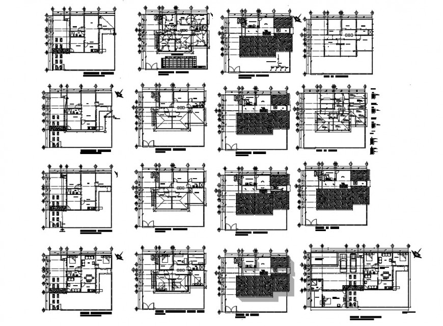 House floor plan, cover plan and framing plan details dwg file