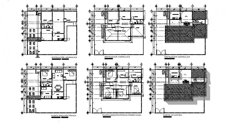 House floor plan, cover plan and hydraulic water system cad drawing details dwg file