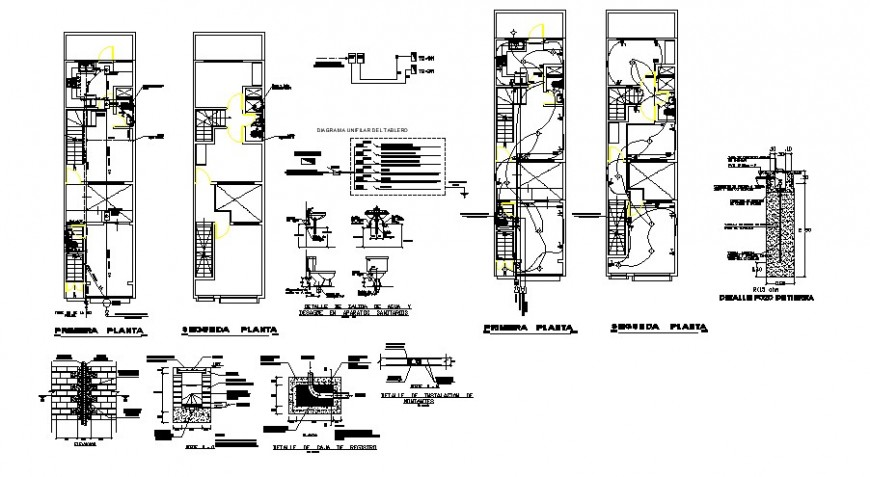 House floor plan, electric installation, sanitary installation and structure details dwg file