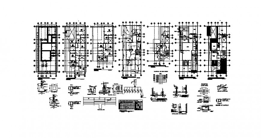 House floor plan, electrical layout plan and structure cad drawing details dwg file