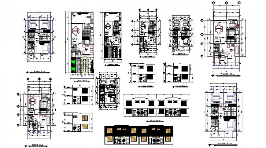 House floor plan and elevation in auto cad