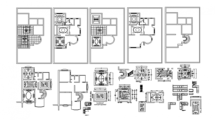 House floor plan details with ceiling details autocad file