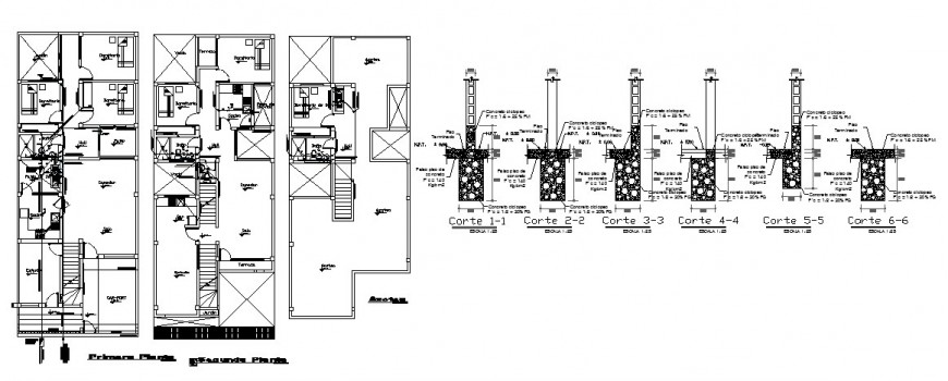 House floor plan distribution and footing section cad drawing details dwg file