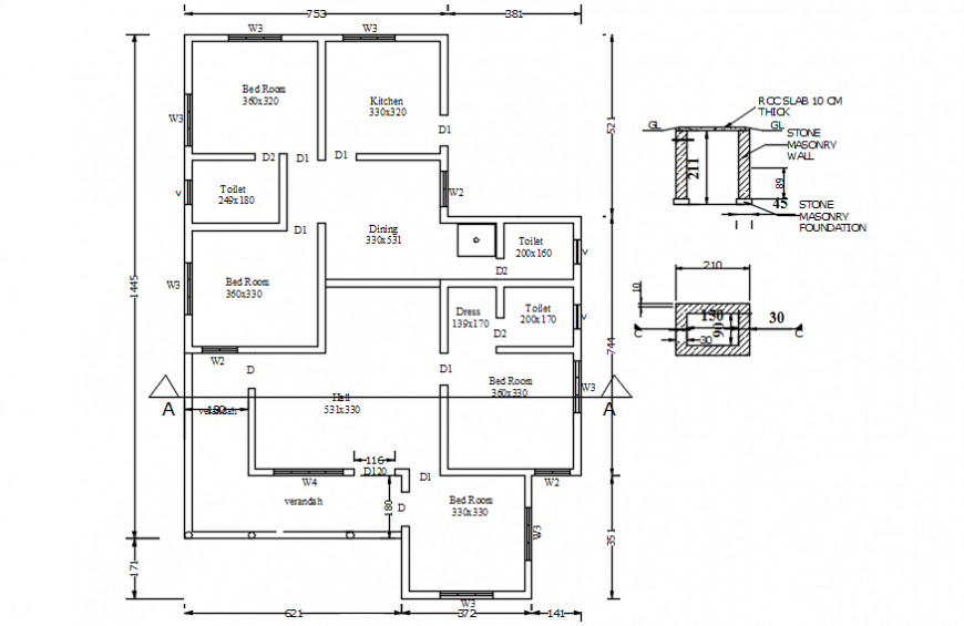 House floor plan with small section