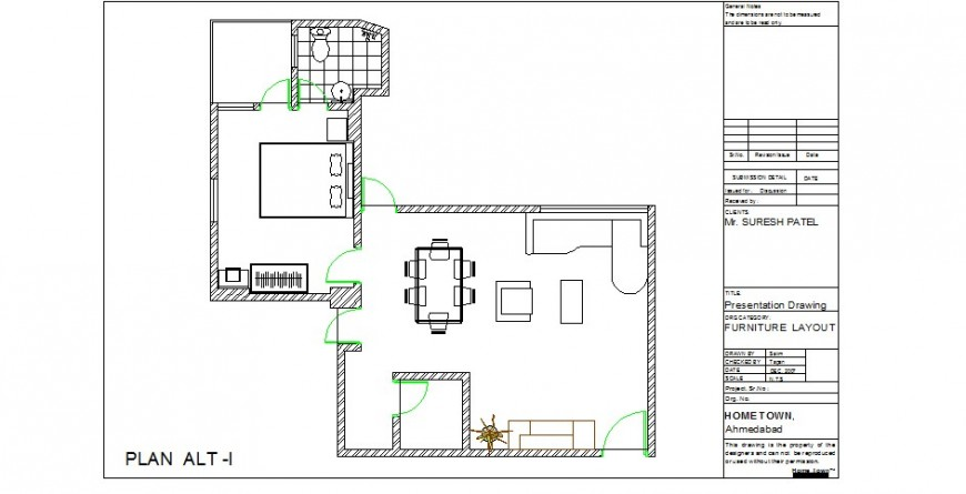 House for one family architecture layout plan cad drawing details dwg file