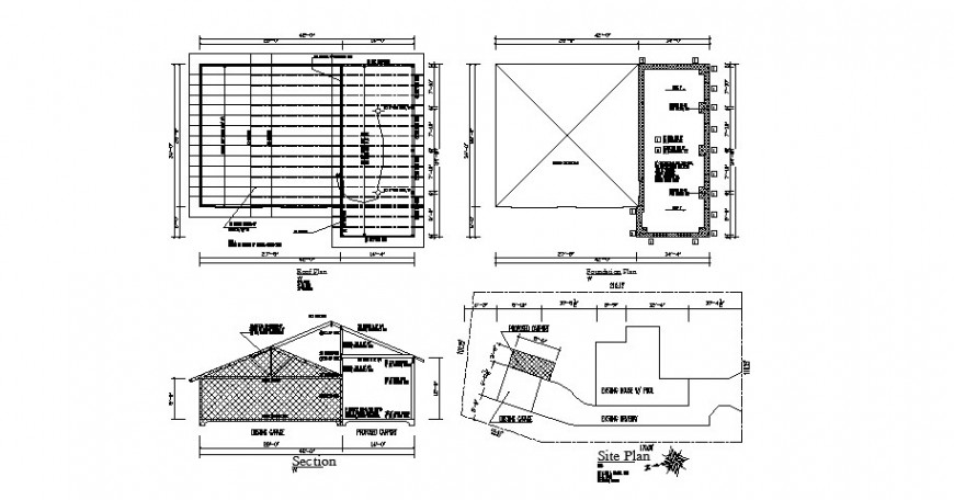 House foundation, roof plan, site plan and constructive section details dwg file