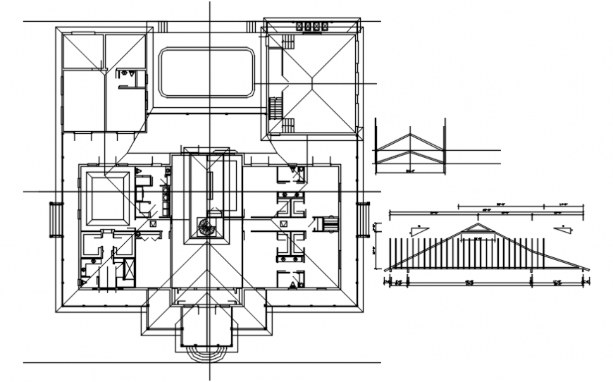 House framing plan structure and roof truss details dwg file