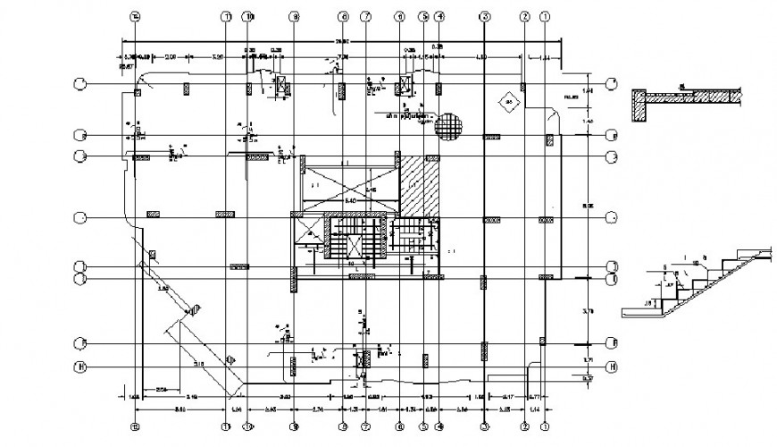 House framing plan structure details with staircase drawing dwg file