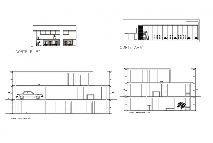 House front, back, transverse and longitudinal section cad drawing details dwg file