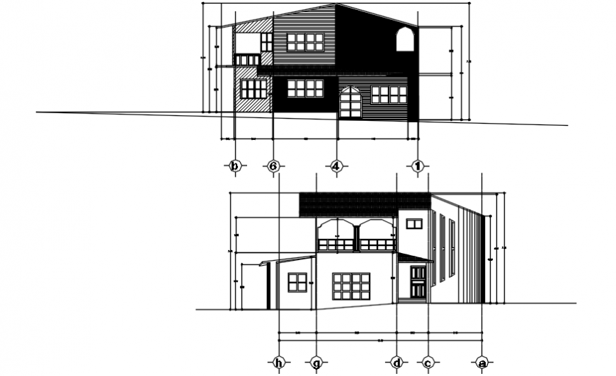 House front and back elevation auto-cad drawing details dwg file