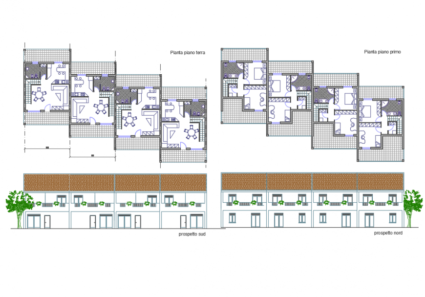 House front and back elevation details with floor plan dwg file