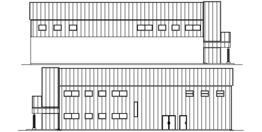 House front and back wall elevation cad drawing details dwg file