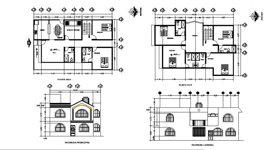 House front and lateral elevation and floor plan cad drawing details dwg file