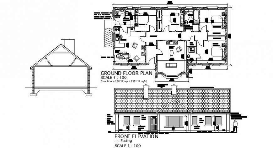 House front elevation, section and ground floor plan cad drawing details dwg file