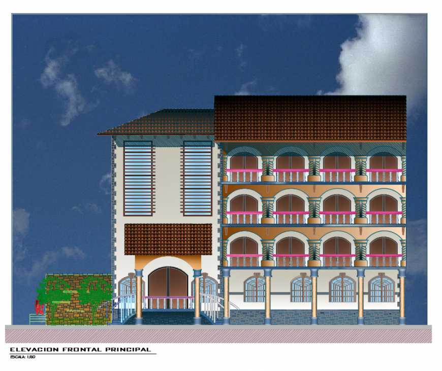 House front elevation dwg file