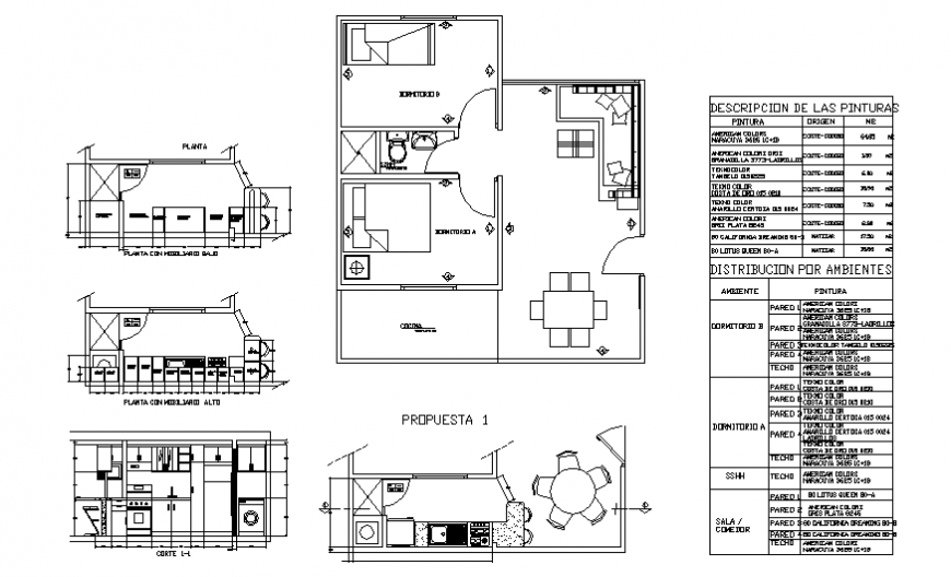 House full section, kitchen section and general layout plan cad drawing details dwg file