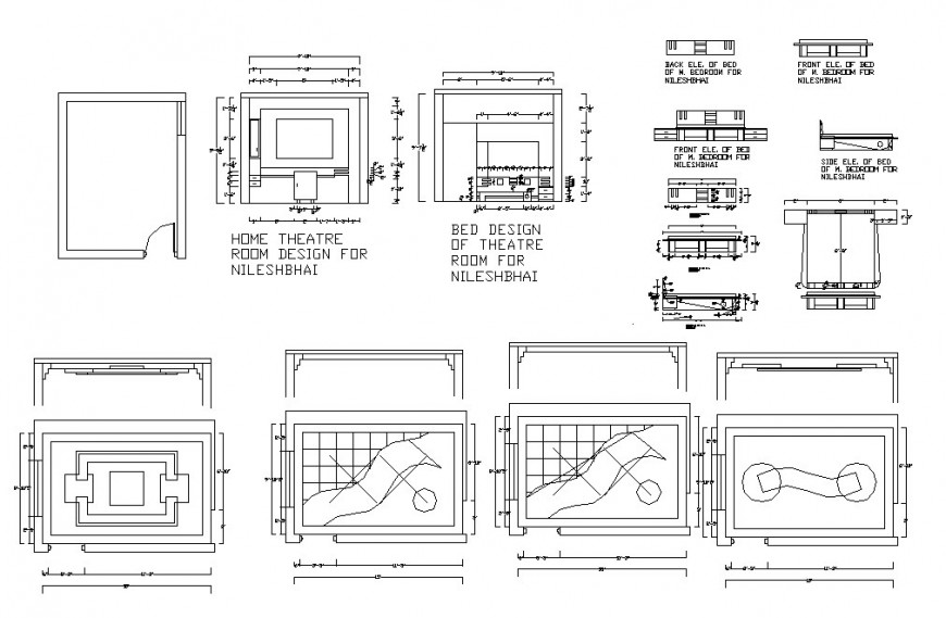 House furniture blocks and car pantry details for single family house dwg file