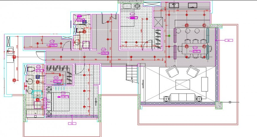 House general layout plan cad drawing details dwg file