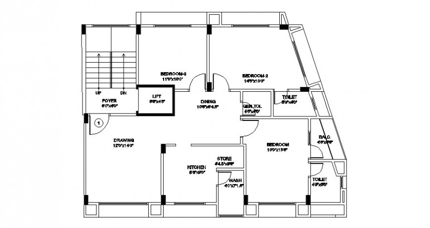 House general plan in AutoCAD file