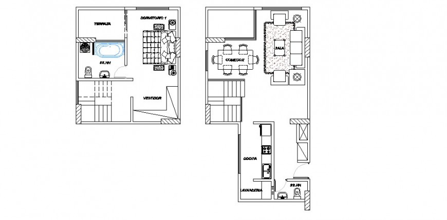 House ground and first floor distribution plan cad drawing details dwg file