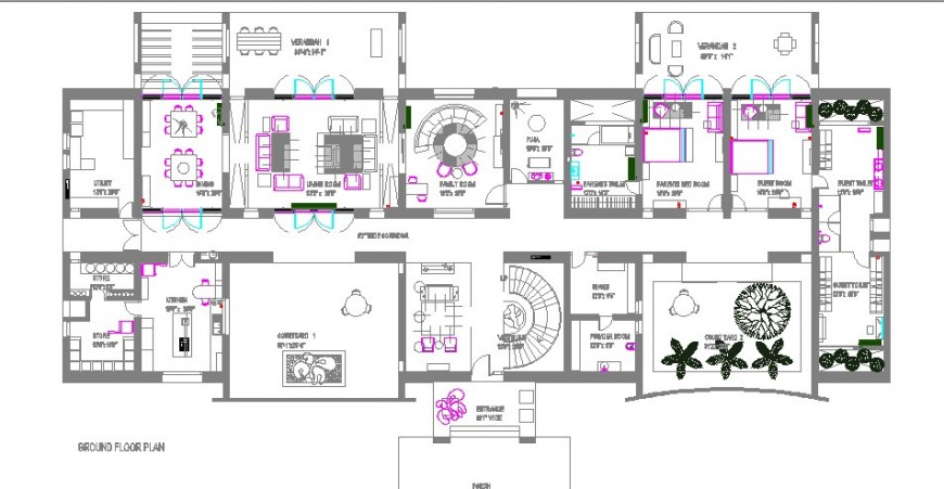 House ground floor layout plan details for single family dwg file