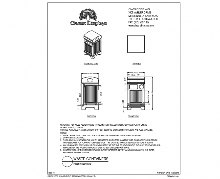 House hold waste container cad drawing details dwg file