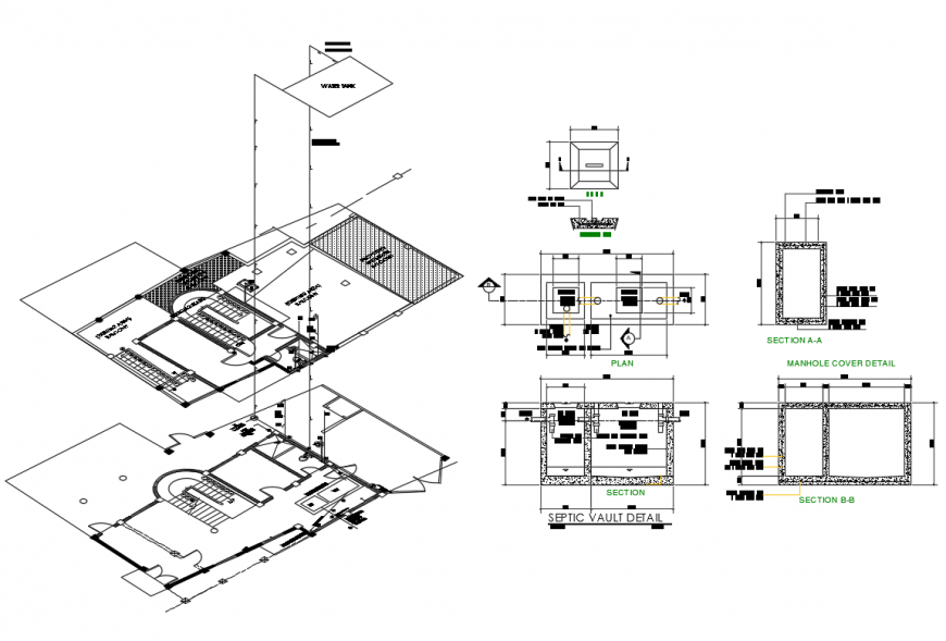 House isometric layout plan view with manhole cover and septic vault details dwg file