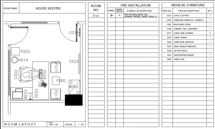 House keeper planning autocad file