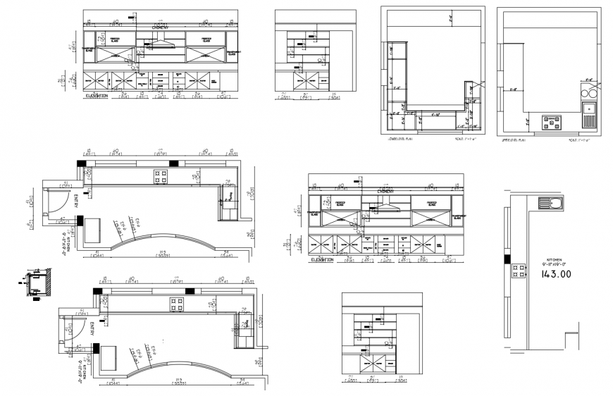 House kitchen all sided section, layout plan, furniture and interior cad drawing details dwg file