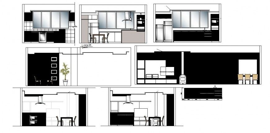 House kitchen all sided section, layout plan and furniture cad drawing details dwg file