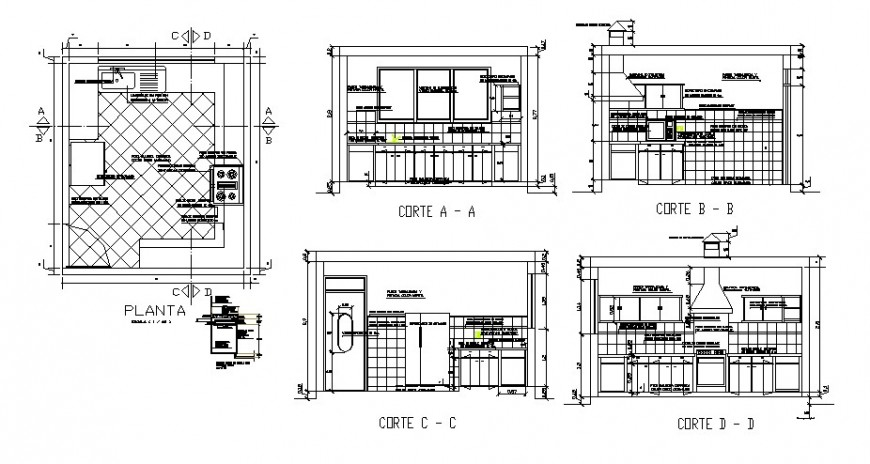 House kitchen all sided section, plan and interior cad drawing details dwg file