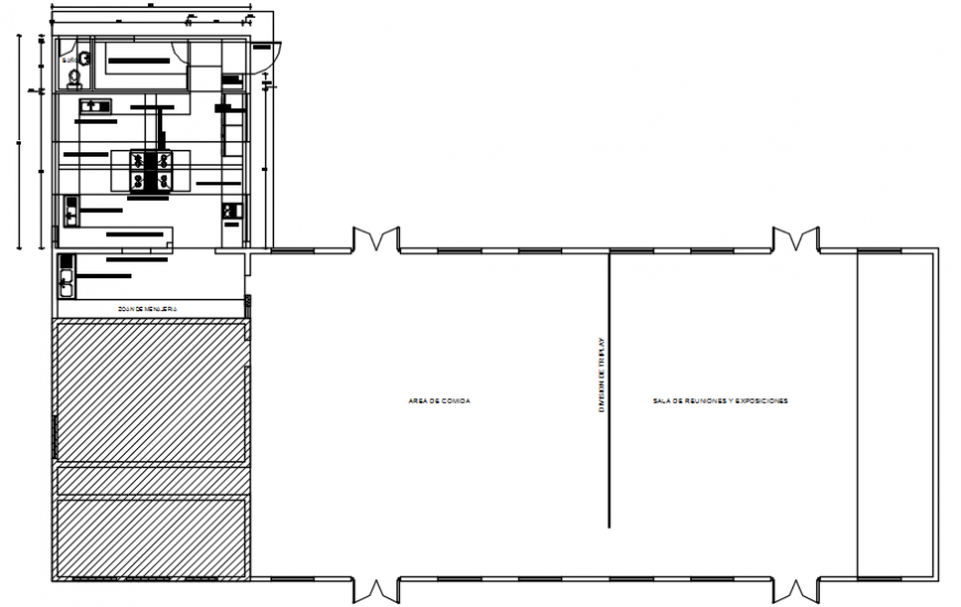 House kitchen area and layout plan cad drawing details dwg file